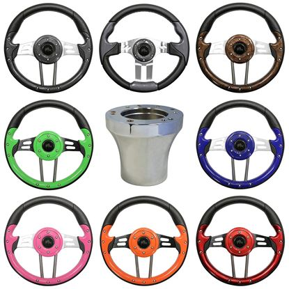 Picture of E-Z-GO Steering Wheel and Chrome Adapter Combo - Choose Your Steering Wheel